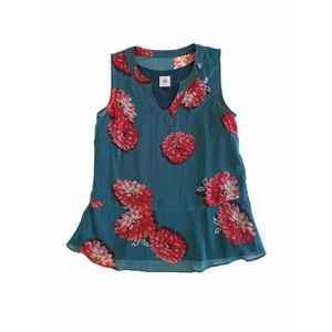 CAbi Peplum Top Floral Notch Neck Textured Blouse